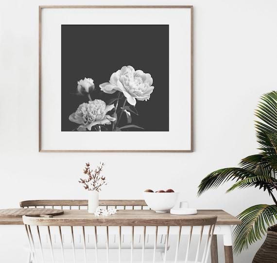 Flower Wall Art, Peony Print, Large Wall Art Prints, Downloadable Prints,Black and White Photography Prints,Printable Wall Art,Digital Print