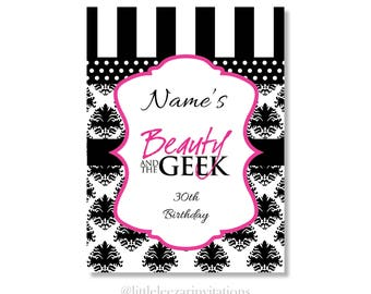 Beauty and the Geek Black and White Birthday Invitation