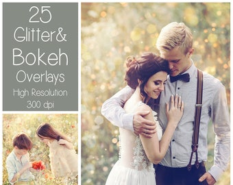 25 Bokeh Overlays - Glitter Overlays  - Light Textures - Summer Photoshop Overlays - Bokeh Textures - Sparkle Overlays  - PS Summer Effects