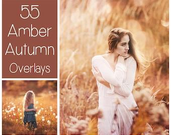 55 Amber Autumn Light Overlays - Autumn Bokeh Background  - Golden Shimmer - Fall Overlays - Light Leaks Overlays  - Dreamy Autumn Effects