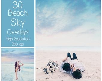 30 Beach Sky Overlays - Dreamy Sky Textures - Photoshop Overlays - Pastel Sky - Digital Background - Photography Overlay - Sky Backdrop