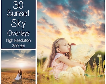 30 Sunset Sky Overlays - Sunset Clouds Textures - Dramatic Sunset Overlays - Digital Background - Photography Overlay - Dramatic Sky Texture