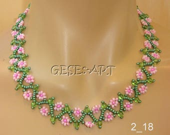 2_18 Flower Net Necklace Pink