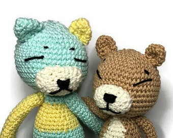 Best friends forever - amigurumi cat in camel and white