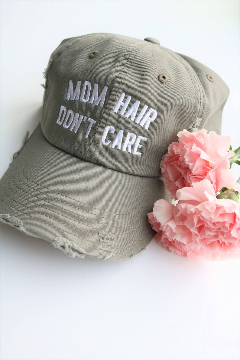 b3a432e585214d Mom Hair Don't Care Embroidered Baseball Cap Distressed | Etsy
