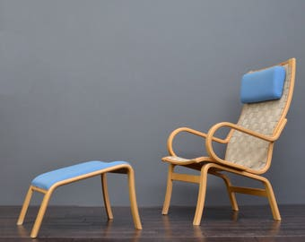 Scandinavian Bruno Mathsson Style Bentwood Lounge Chair & Stool