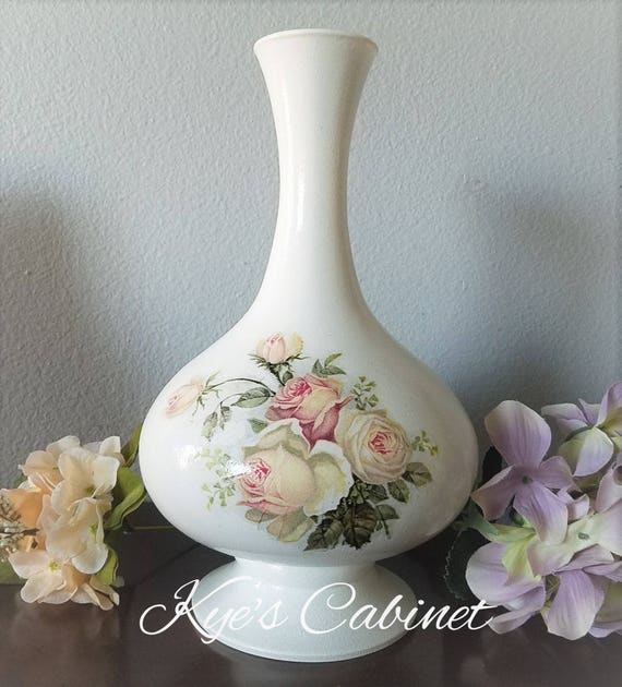 Hand Painted Decorative Glass Vase, Decoupage Flower Vase, Romantic Rose  Vase, Cottage Chic Decorating Vase, Special Gift