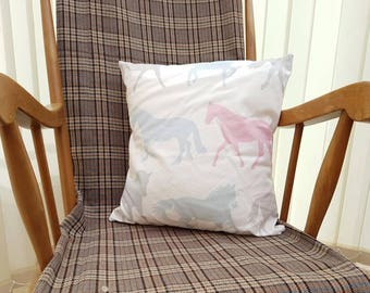 Horse Cushion/Cream horse pillow/Equestrian gift/stallion home decor/gift for mum/gift for her/pastel horse decor/Cosy home accessories