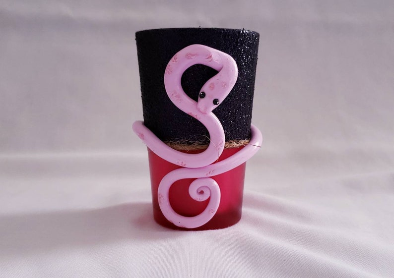 Snake- votive candle holder- polymer clay- glass-