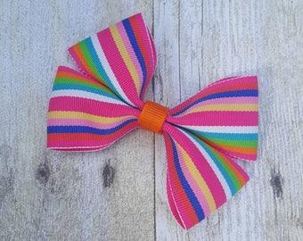 Rainbow colored hair bow