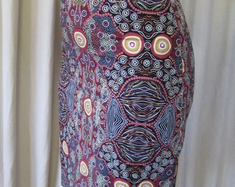 ee40e88c52a933 Australian aboriginal fabric //Skirt//Summer Skirt//slim line shirt// Aboriginal Skirt//high waist//Australian print//Eco Apparel