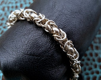 """Solid Sterling Silver Byzantine Chain Bracelet (8 5/8"""") with Lobster Claw Clasp, 28.5 grams, extra large"""