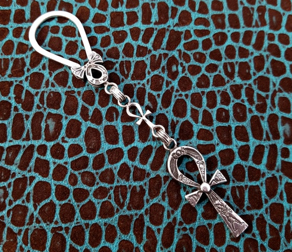 Egyptian Key Ring Solid 800 Silver Key Chain with