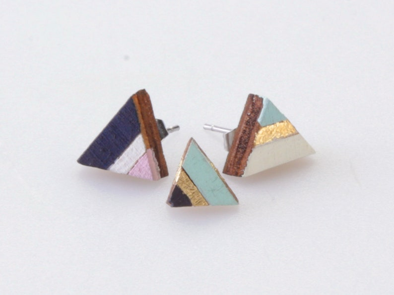 triangle wooden earrings minimal geometric studs