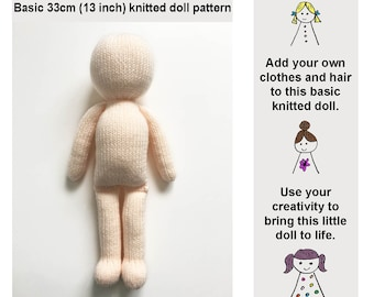 Basic Doll Knitting Pattern 33cm (13 inch) Doll Body Base Worked Flat