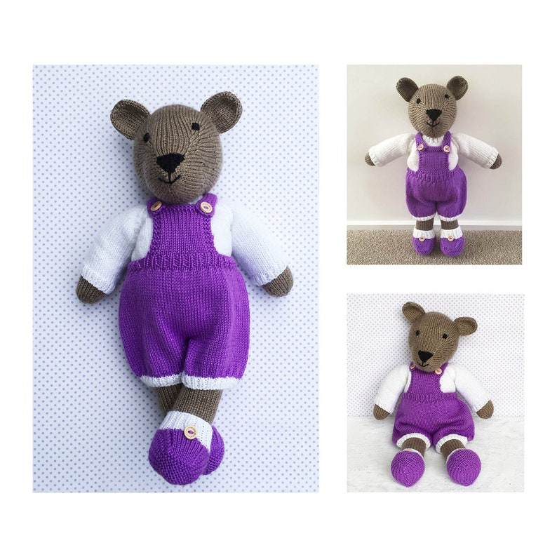 2d4e5bc2a Knitted Teddy Bear Toy Knitting Pattern Sweater and Dungarees | Etsy