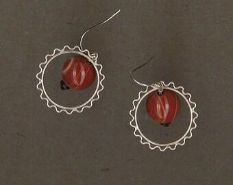Banded Agate and Sterling Silver Loop Earrings