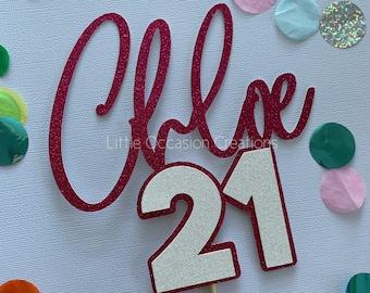 Age Cake Topper, Birthday Cake Topper, Happy Birthday, 21st, 18th, 30th Cake Topper, Personalised Cake Topper, Glitter Cake Topper