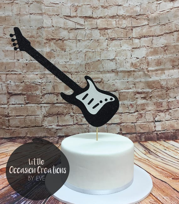 Guitar Cake Topper Glitter Male Birthday 18th 30th 50th