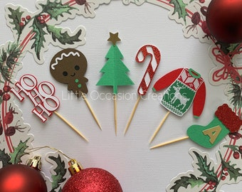 Christmas Cupcake Topper, Cupcake Toppers, Christmas Cake Topper, Santa Cupcake Topper, Christmas Stocking Cake Topper, Ugly Sweater