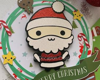 Santa Cake Topper, Christmas Cake Topper, Santa Clause Cake Topper, Christmas Decoration, Christmas Cake Banner, Cake Topper,Merry Christmas