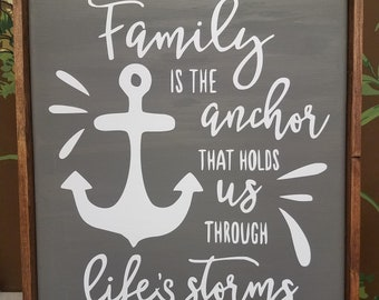Family is the Anchor That Holds us Through Life's Storms Rustic Framed Canvas