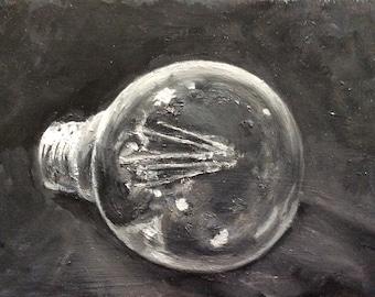 Lightbulb  Painting Original Oil Painting  5 x 7