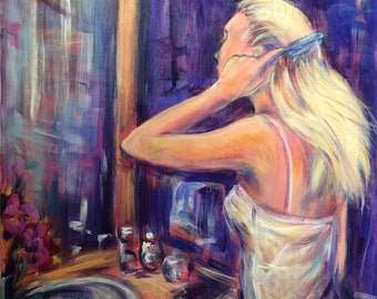Woman Painting Girl Brushing Hair Original Painting 30 x 24""