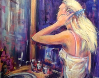 fantasy painting girl by ocean sea painting art print on wood