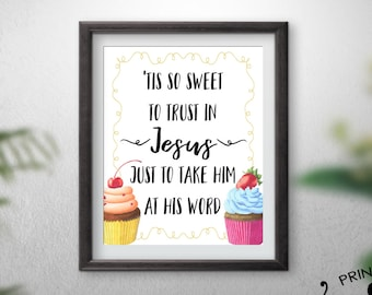 Tis So Sweet Cupcake Printable Art 8x10 inch