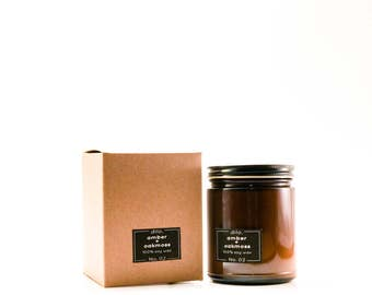 Amber + Oakmoss candle - 100% hand poured soy wax and fine fragrance