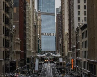 The L and Trump Tower. Chicago, IL. Photography Print. Portrait. Wall Art. Home Decor. Urban. Nightscape.