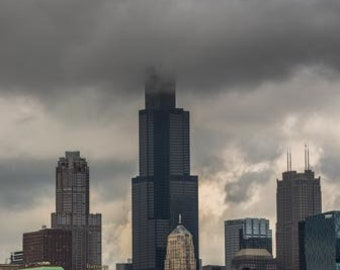The Sears tower stuck in the clouds. Chicago, IL. Photography Print. Portrait. Wall Art. Home Decor. Urban. Nightscape. Look up. Skyline