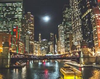 Full moon over the Chicago River.  Chicago, IL. Photography Print. Portrait. Wall Art. Home Decor. Urban. Nightscape. Look up. Skyline
