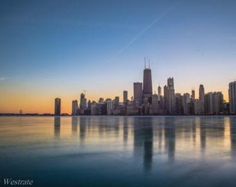 Smooth Sunset. Chicago, IL. Photography Print. Landscape. Wall Art. Home Decor. Urban. Nightscape. Look up. Skyline