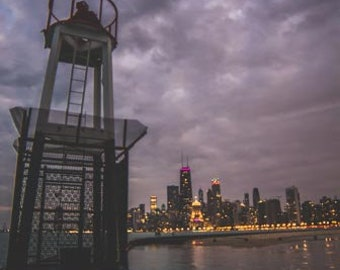 Pier and Chicago Skyline at night Chicago, IL. Photography Print. Portrait. Wall Art. Home Decor. Urban. Nightscape. Look up. Skyline