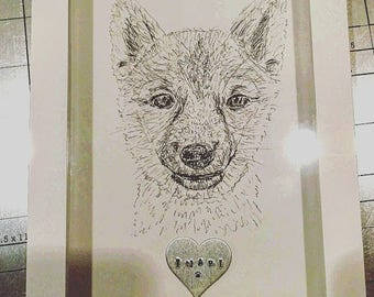 Custom Shadowbox Pet Portrait with Hand Stamped Heart