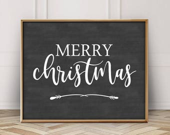 Merry Christmas Printable-Merry Christmas Sign-Merry Christmas Chalkboard Sign Printable-Chalkboard Christmas Print-Farmhouse Christmas