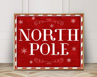 North Pole Printable-North Pole Sign-Christmas North Pole-Christmas Printable-North Pole Decor-Santa North Pole Print-Red White Christmas