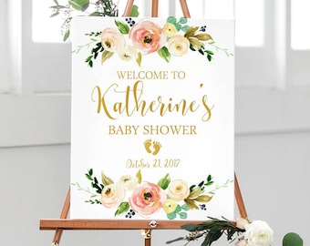 Welcome To Baby Shower Sign Printable-Baby Shower Printable-Baby Shower Sign Baby Feet-Baby Shower-Gold Baby Shower-Digital Download Shower