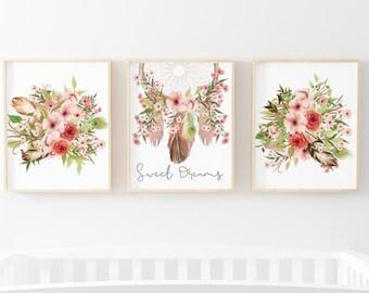 Tribal Print Set of 3-Girl's Nursery Print Set-Floral Print Set-Tribal-Feathers-Arrow-Dream Catcher Print-Girls Room Print-Instant Download