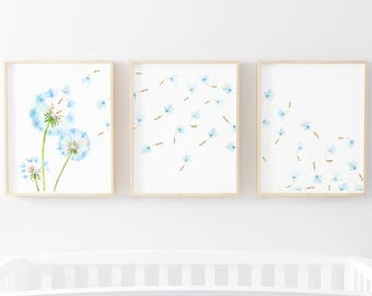 Blowing Dandelions Print Set of 3-Dandelion Print Set 3-Dandelion Art-Nursery Print Set-Dandelion Prints-Instant Download-Wall Art Decor
