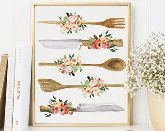 Kitchen Print-Kitchen Utensils Print-Wooden Utensils Print-Spoon-Peach Flowers-Succulents-Instant Download-Wall Art Decor-Printable Art