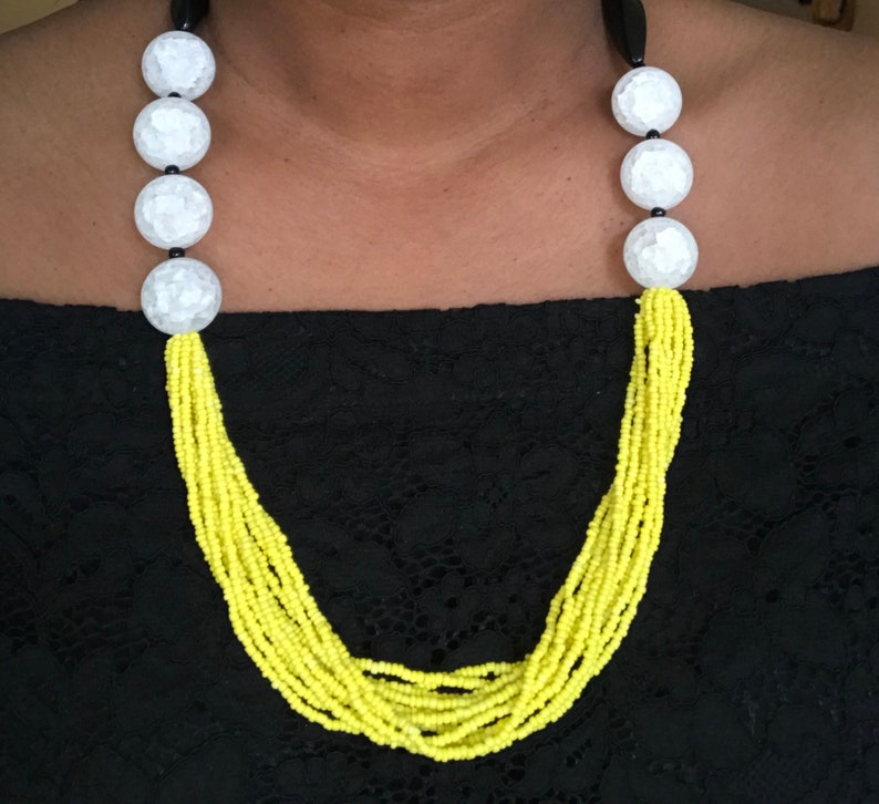 yellow necklace beaded necklace Colorful necklace black necklace color block necklace Color block necklace white necklace