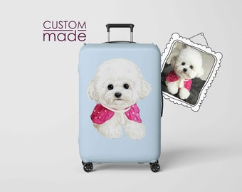 ecf784b83 Custom pet portrait Suitcase cover Illustration Luggage Cover Pet Dog Cat  Drawing Travel Accessories Personalized Luggage Protection Gift