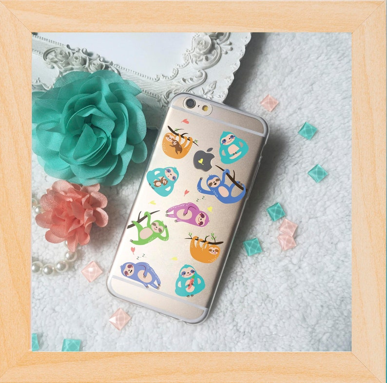 283643c2bc62 Sloths all over pattern clear tpu soft phone case for iPhone X