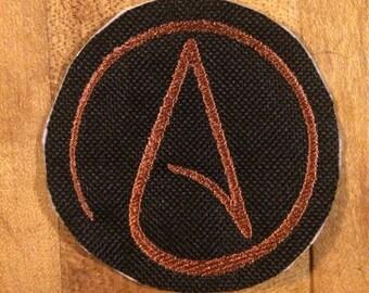 Atheism symbol iron on patch