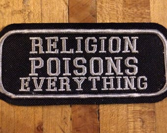 Religion poisons everything iron on canvas patch