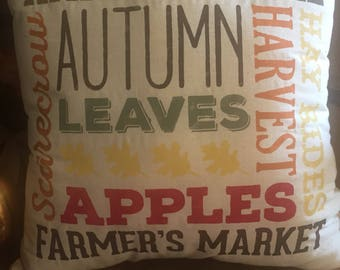 Fall Pillow-Autumn-Harvest-Decorative Pillow-Fall Words-Fall Colors-Pumpkins-Thanksgiving-Halloween-Apples-Farmhouse