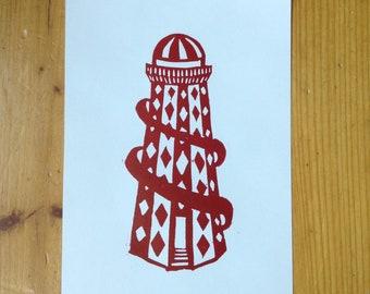 """linocut print """"Helter Skelter"""" size A5"""